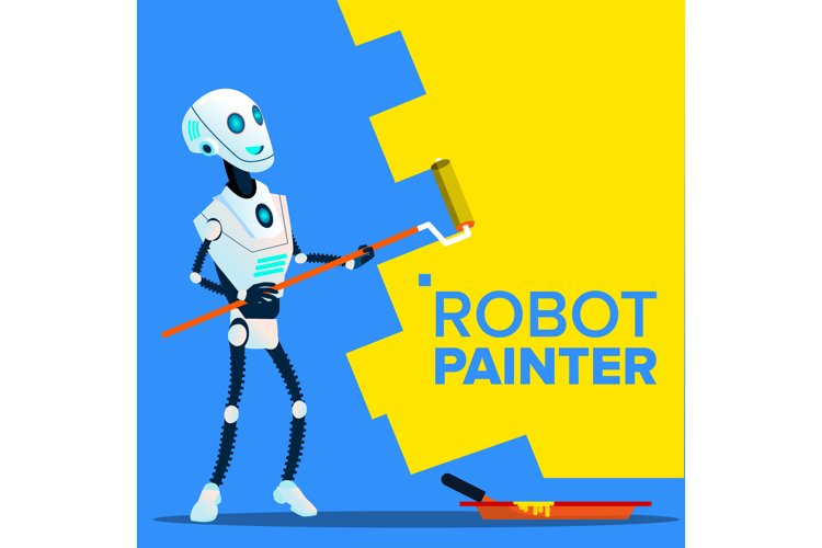 Robot Painter Paints The Wall With Roll Brush Vector.
