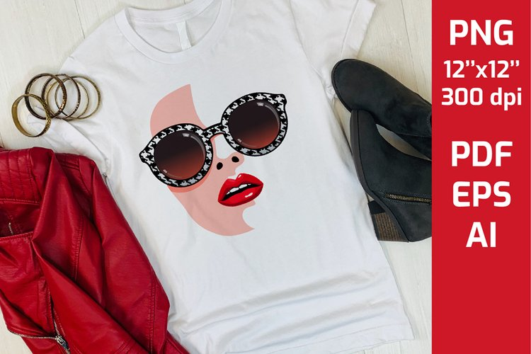 Sublimation PNG Girl Face with sexy red lips and sunglasses