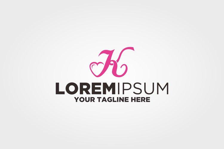 Letter k Love Logo example image 1