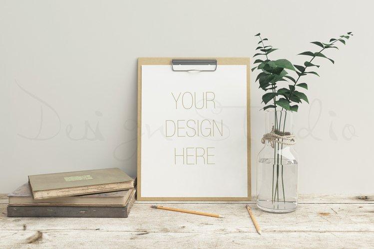 Stationery mockup, Smart object PSD file , wooden desk mockup, 8x10 art template example image 1