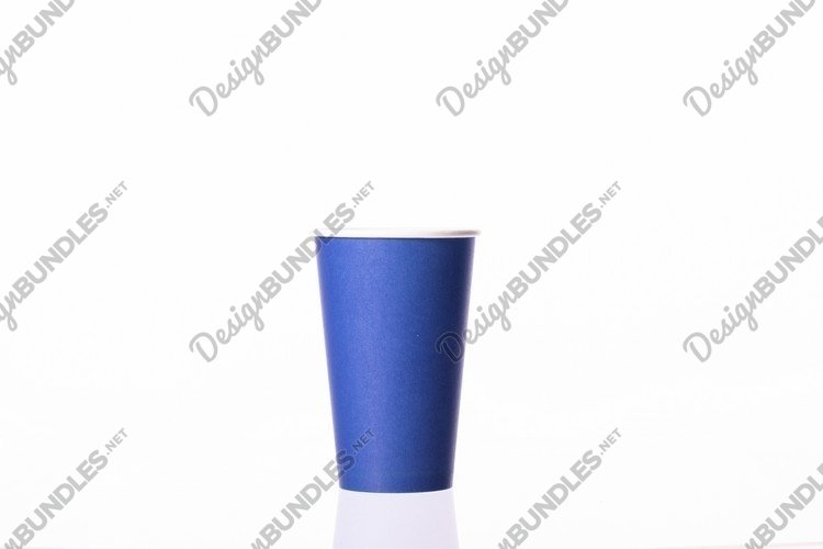 blue take away disposable paper coffee cup isolated example image 1