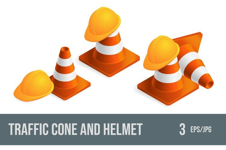 Set of vector illustrations traffic cones and helmet.