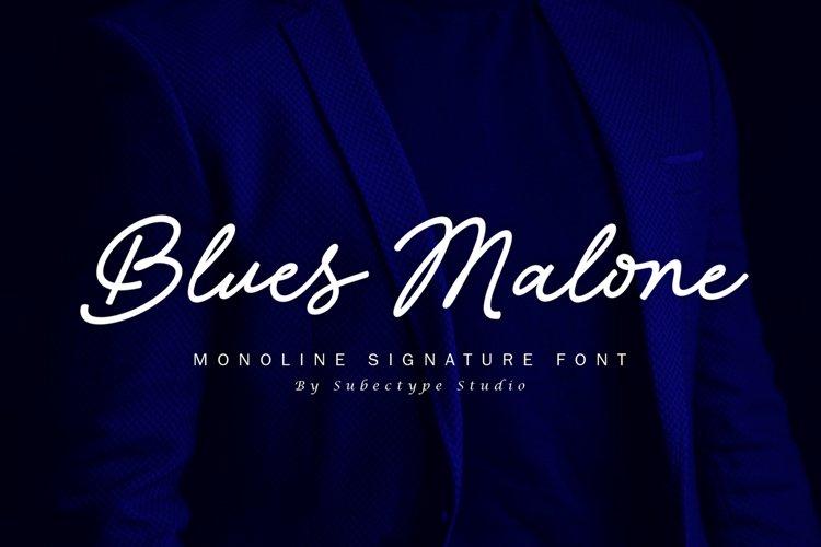 Blues Malone / Monoline Signature Font example image 1