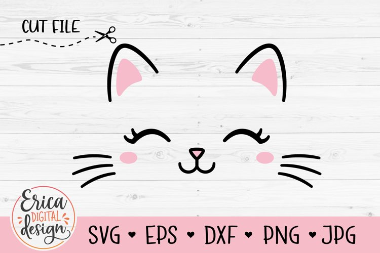 Cat Face SVG cut file Kitten whiskers Cute Kitty Eyelashes example image 1