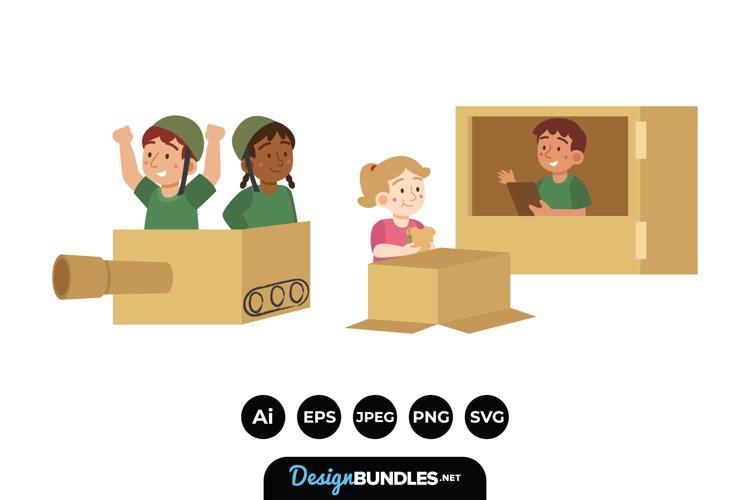 Creative Boy and Girl Playing with Cardboard