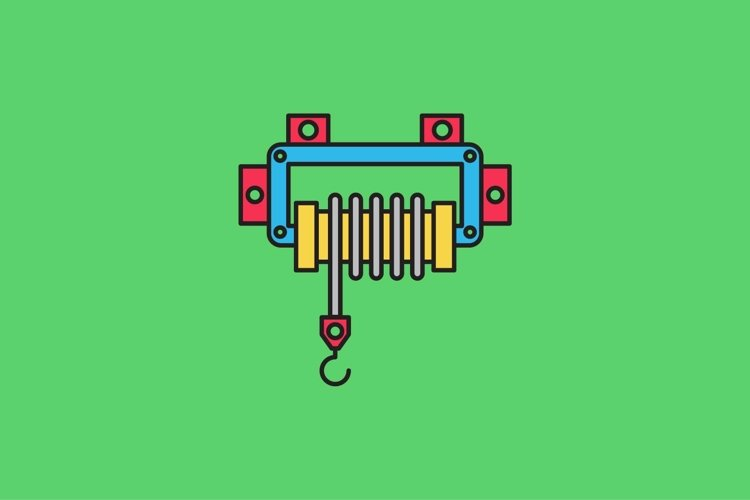 winch filled outline Icon. construction and tool vector