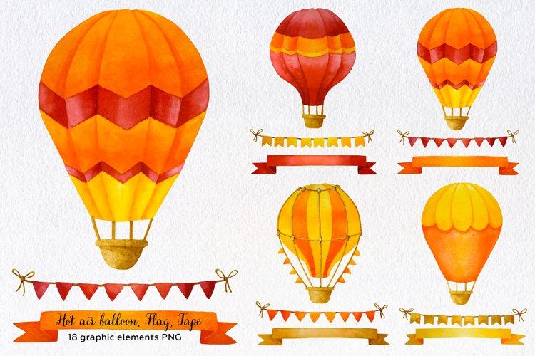 Hot air balloon clipart. Hot air balloons, Flags, Tapes, PNG