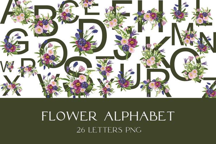 Watercolor flower alphabet clipart PNG