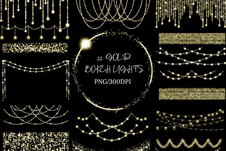 Gold Bokeh String Fairy Lights Overlays PNG Clipart example image 1