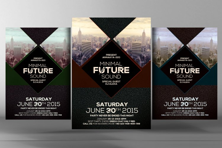 Minimal Future Sound Party Flyer example image 1