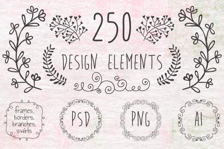 Hand Sketched Vintage Decorative Doodle Design Elements. example image 1