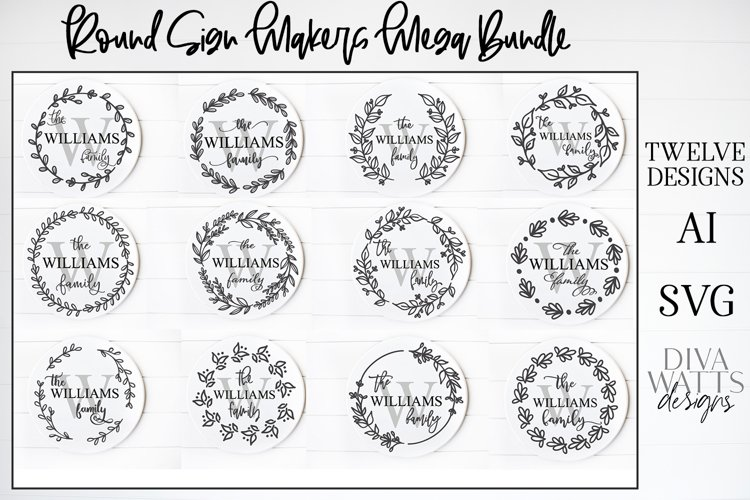 Sign Makers Monogram Signs Bundle - Farmhouse Round Signs