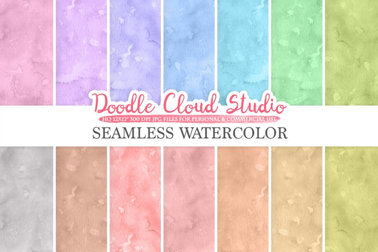 Seamless Watercolor digital paper pack, Seamless Backgrounds, pastel watercolor printables, Instant Download for Personal & Commercial Use
