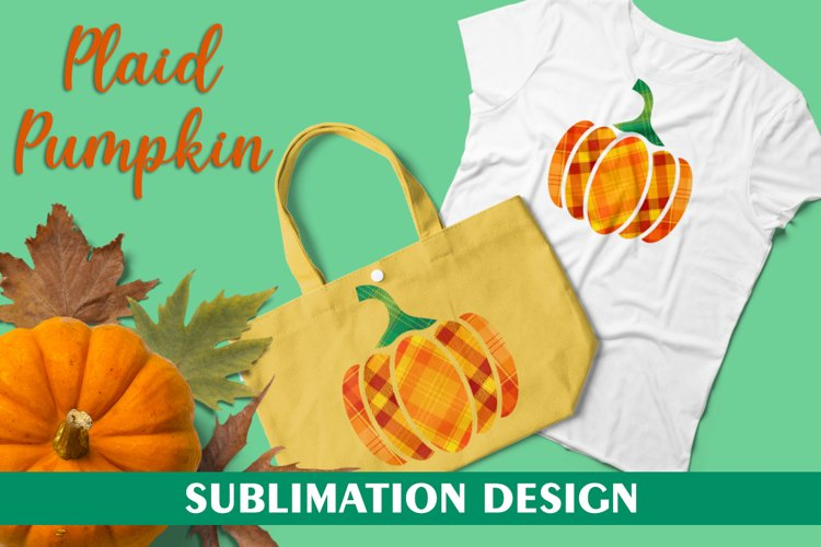 Plaid Pumpkin for Sublimation Design, Halloween Pumpkin PNG example image 1