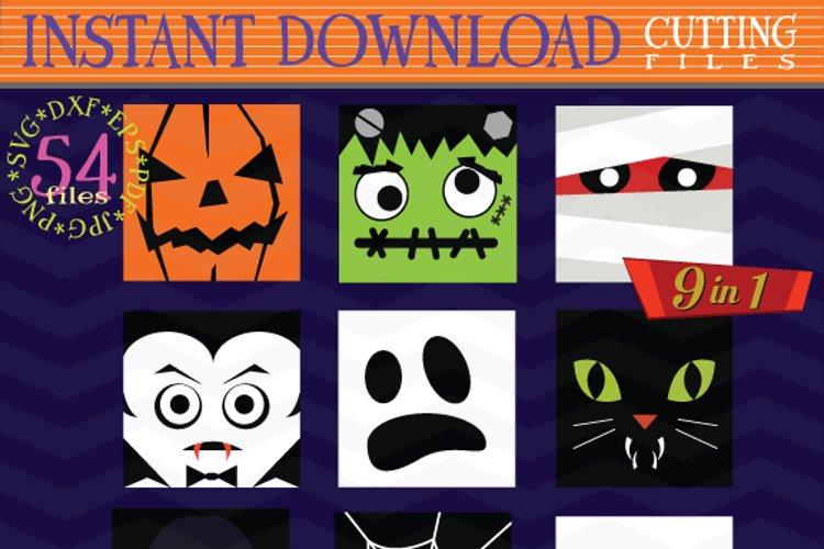 Halloween Monster Face svg - Halloween bundle Monster icons
