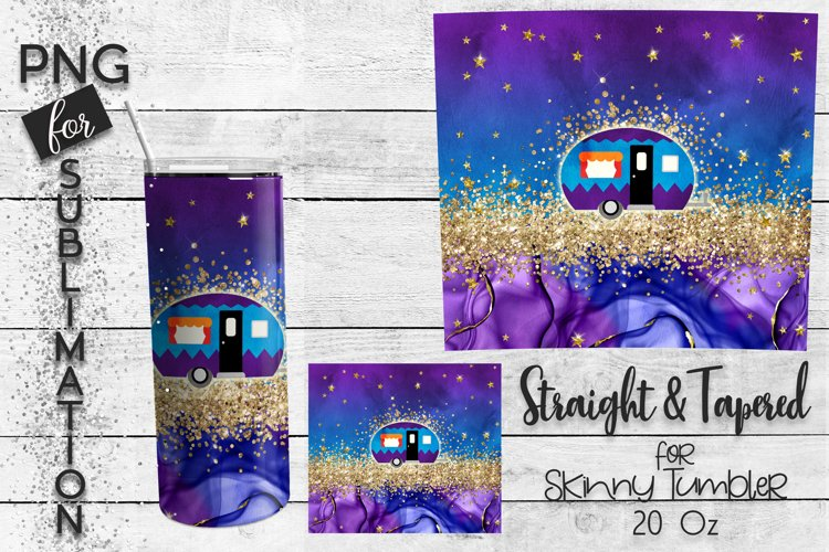Skinny tumbler 20 oz sublimation - happy camper glitters