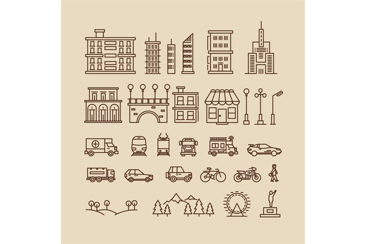 Line elements of city. Buildings, houses, trees, transport a example image 1