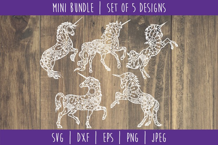 Unicorn Mandala Zentangle Bundle Set of 5 - SVG