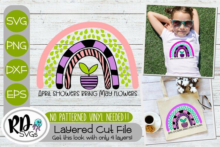 April Showers Rainbow - A Spring Layered Cricut Cut File SVG