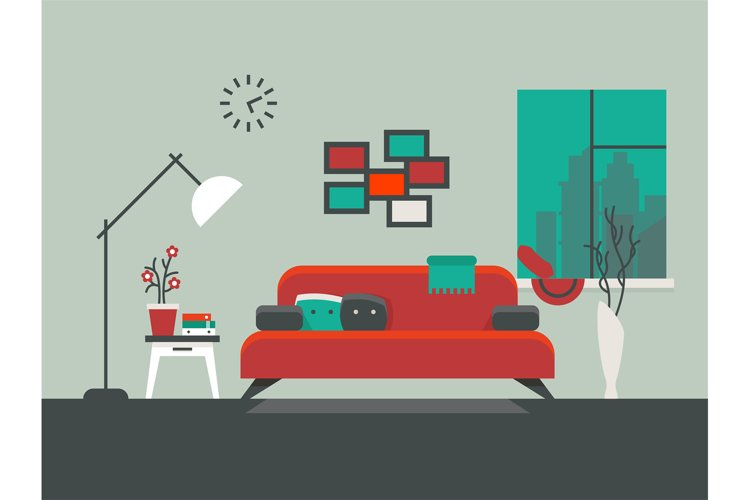 Home interior of living room vector illustration example image 1
