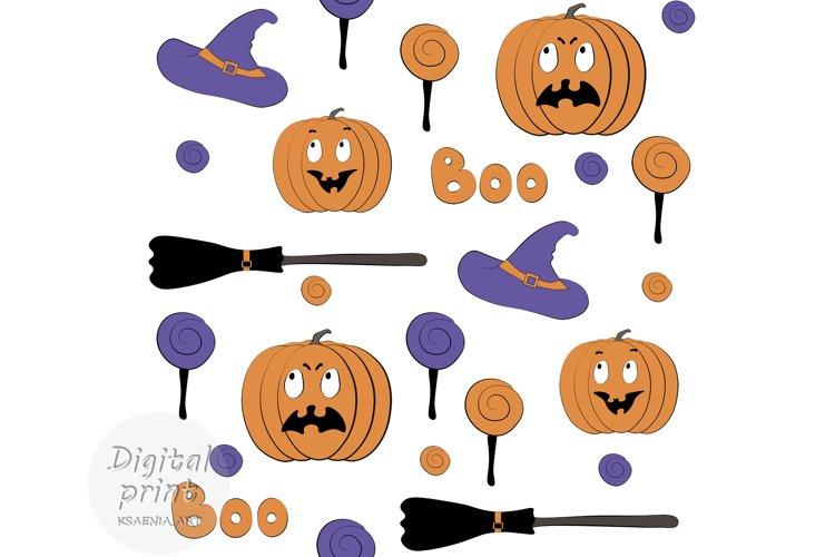 Halloween Digital paper, Seamless pattern, Pumpkins, Candy