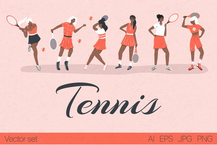 Tennis characters vector collection example image 1
