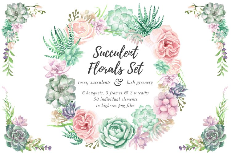 Watercolor Succulents and Greenery example image 1
