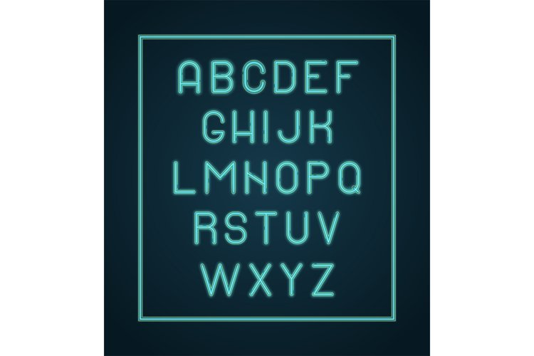 Neon alphabet. Lighting letters glow font vector lettering