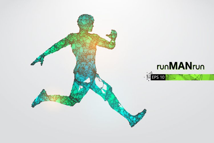 Silhouettes of a running athlete, man, AI, EPS, PNG example image 1