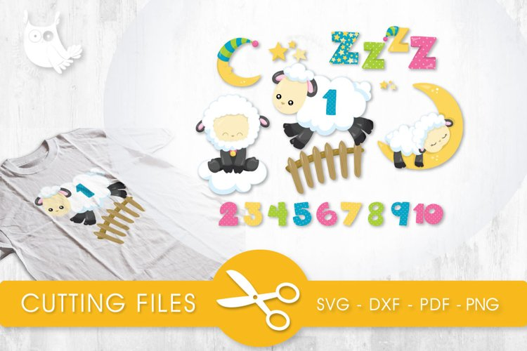 Counting Sheep cutting files svg, dxf, pdf, eps included - cut files for cricut and silhouette - Cutting Files SVG example image 1
