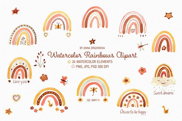 Watercolor Boho Rainbows clipart