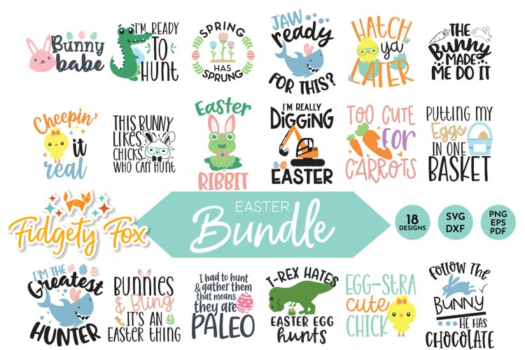 Cute Easter SVG Bundle, 18 original designs for Easter
