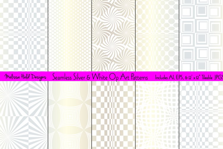 Seamless Silver and White Op Art Patterns
