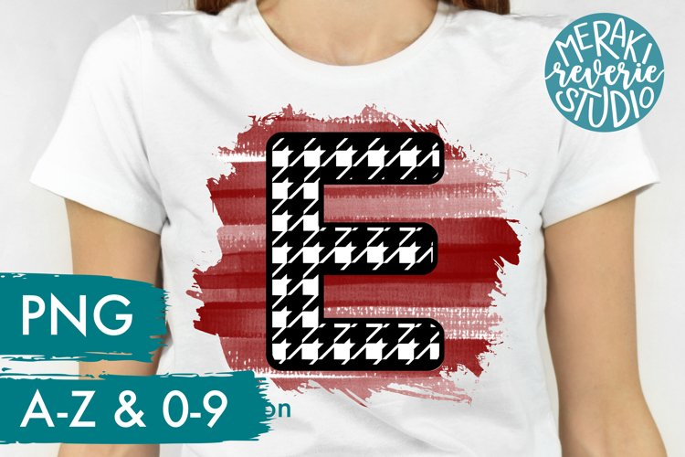 Printable Houndstooth Alphabet Letters for Sublimation example image 1