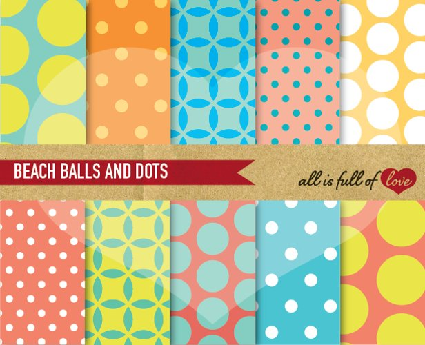 Beach Digital Paper Polka Dots Scrapbook Background Patterns example image 1