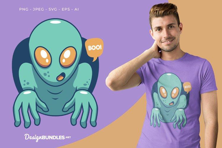Scary Alien Vector Illustration For T-Shirt Design