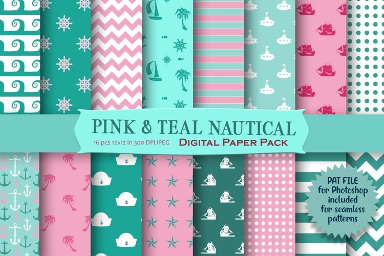Pink Nautical Pattern Digital Paper example image 1