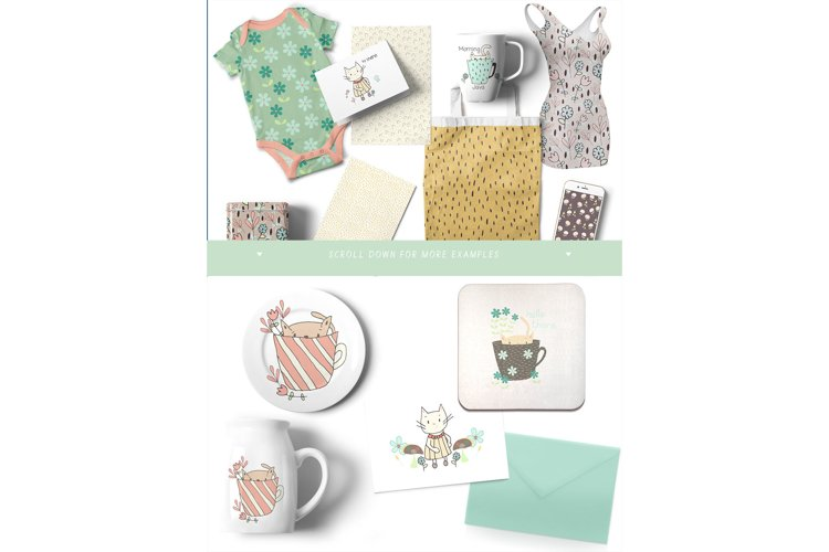 Kitty Fun Vector Swatches Patterns - Free Design of The Week Design6