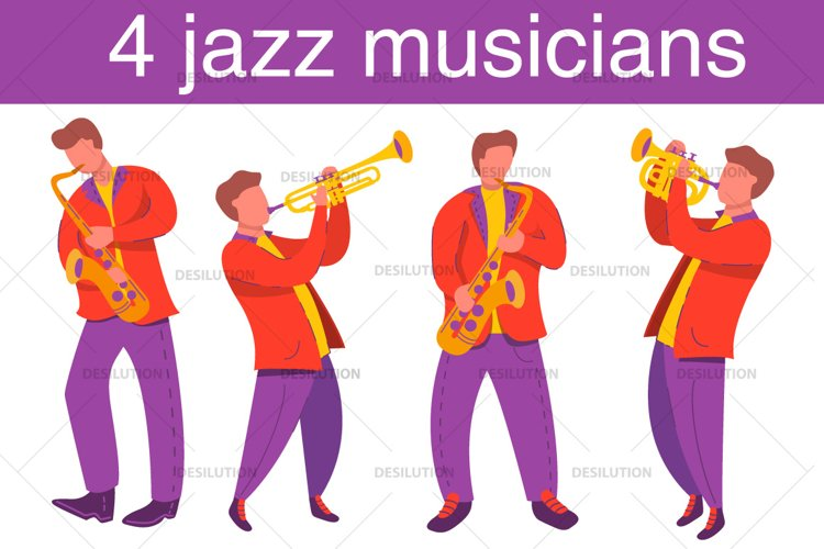 Jazz musicians trombone, saxophone. example image 1