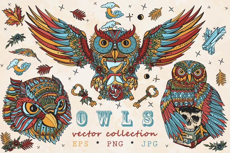 Owls old school tattoo example image 1