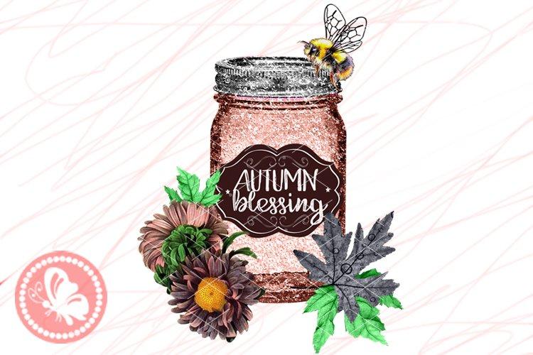 Mason Jar crafts Bee Flowers Home Farmhouse decor Sublimated example image 1
