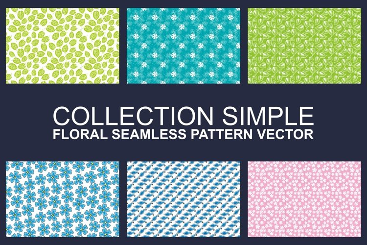 Vollection of Simple Floral Seamless Pattern Vector example image 1