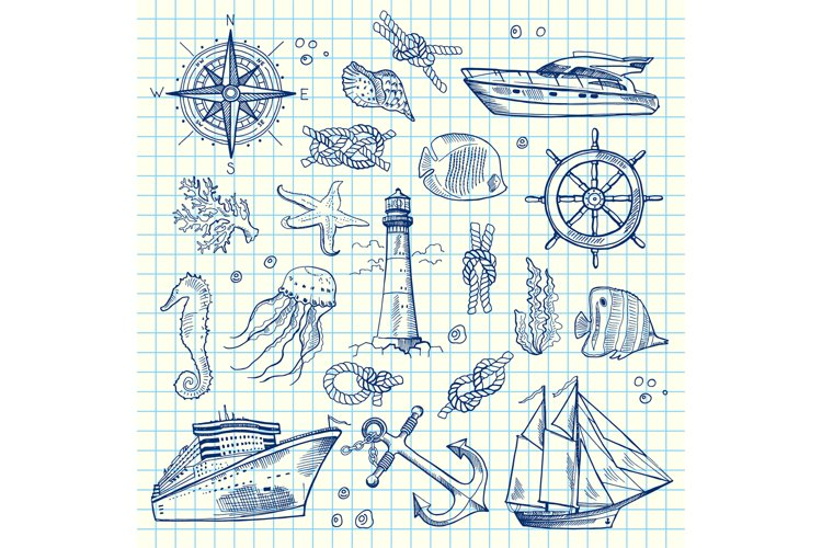 Vector sketched sea elements on notebook cell sheet example image 1