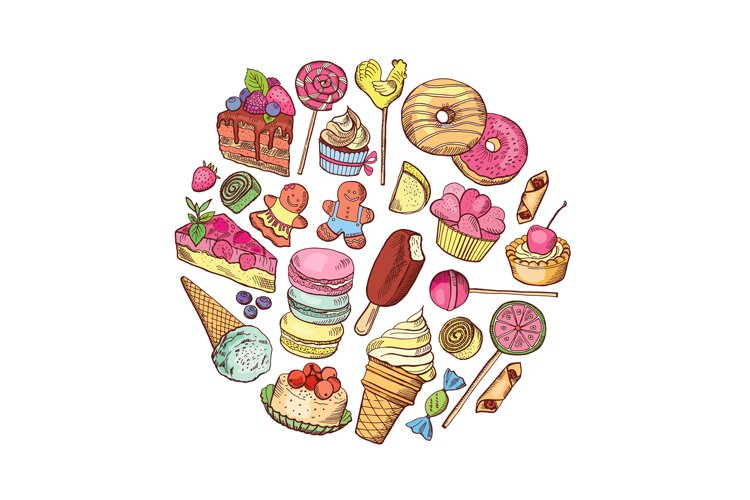 Vector hand drawn types of sweets circle concept example image 1