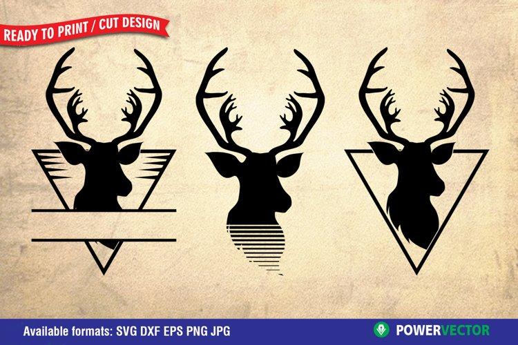 Deer Head SVG, Split monogram Files for Crafters