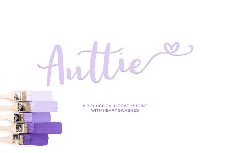 Auttie Calligraphy Font with Heart Swashes example image 1