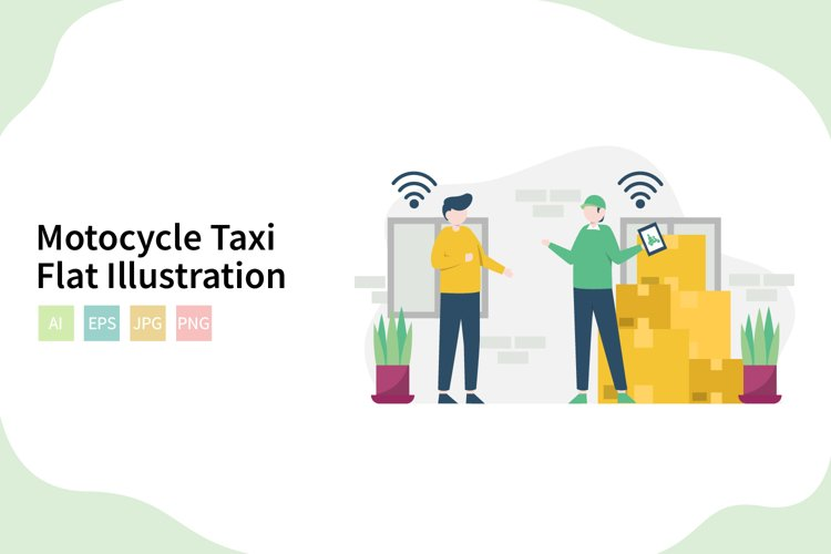 Online Motocycle Taxi Flat Vector Illustration example image 1