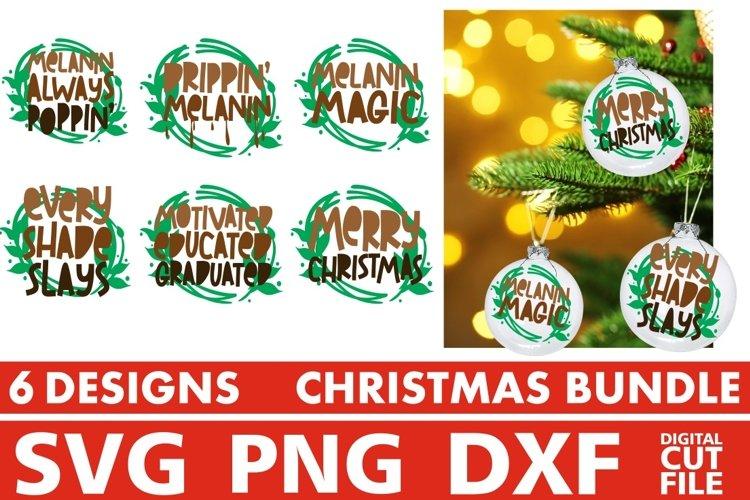 Christmas svg Bundle, Round Sign Design, Melanin Dripping example image 1