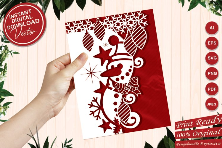 Christmas Snowman Paper Cut Card Edger Template for Cards