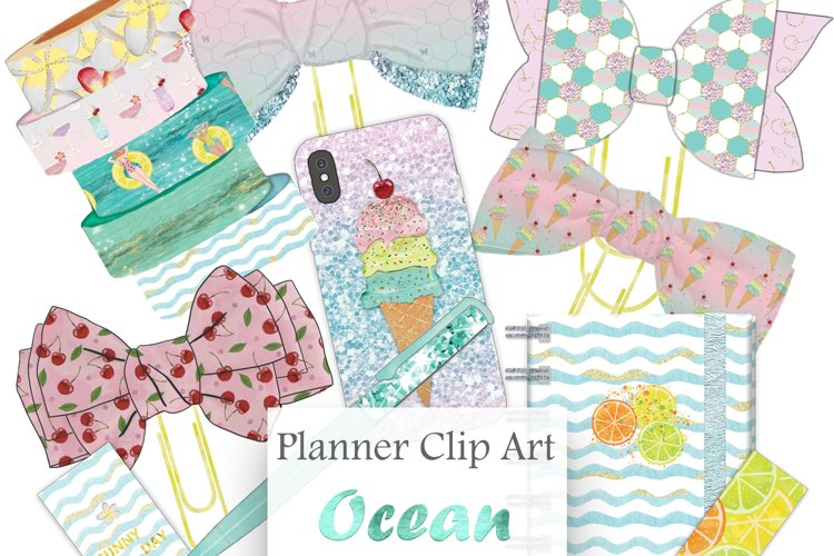 Summer Holiday Planner Cliparts,Planner Glitter Illustration example image 1
